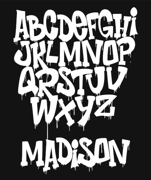 Marker graffiti font, ilustração de tipografia manuscrita Vetor Premium