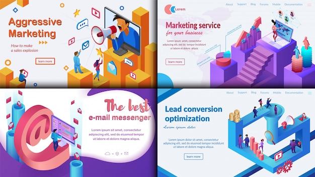 Marketing agressivo, o melhor mensageiro de e-mail. Vetor Premium