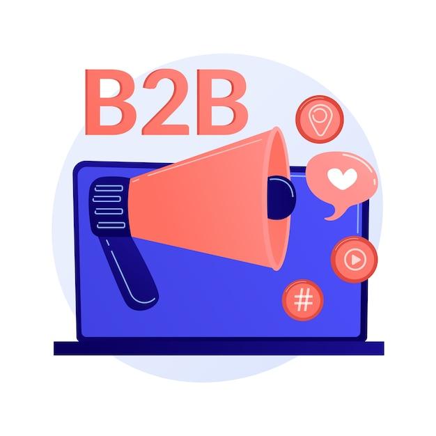 Marketing b2b. colaboração empresarial, smm, notificação da internet. elemento de design plano de campanha promocional online. ilustração do conceito de anúncios de redes sociais Vetor grátis