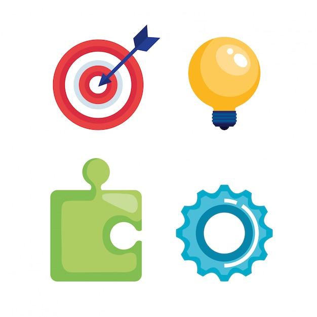 Marketing conjunto de ícones Vetor grátis