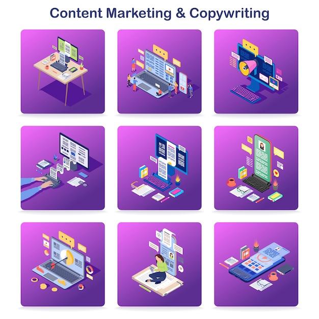 Marketing de conteúdo e redação isométrica conceito conjunto de ícones Vetor Premium