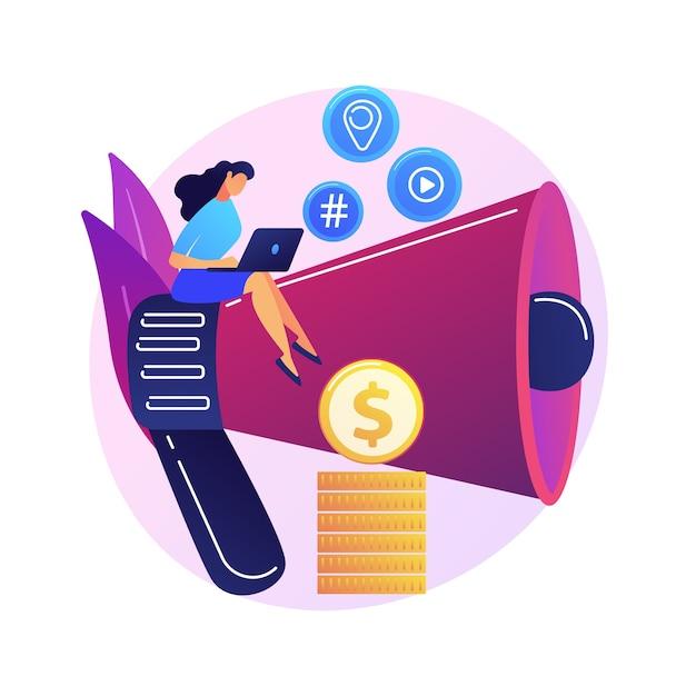 Marketing de conteúdo. redação, blogs, redação criativa. personagem de desenho animado feminino sentado no megafone. smm, elemento de design plano de promoção na internet. Vetor grátis