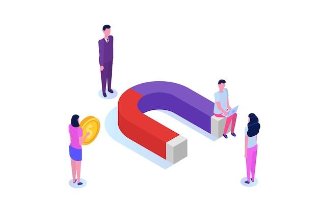 Marketing de entrada, online ou de permissão, geração de vendas. Vetor Premium