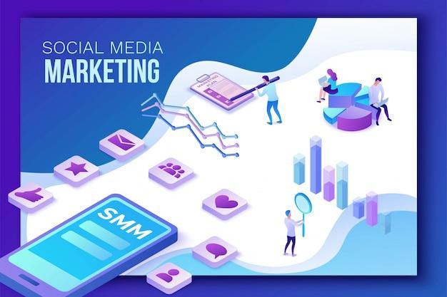 Marketing de mídia social, 3d isométrico Vetor Premium