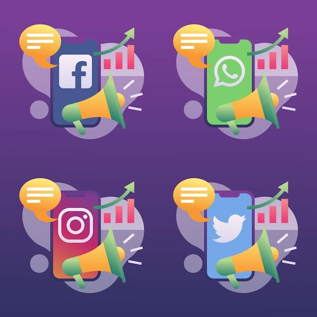 Marketing de mídia social crescente conjunto de ícones Vetor Premium