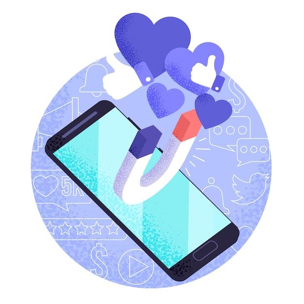 Marketing de mídia social no conceito móvel Vetor grátis