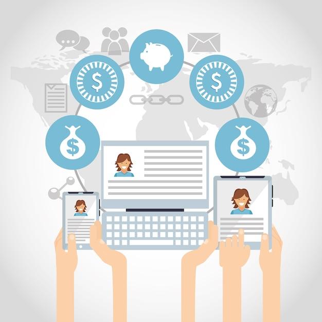 Marketing de mídia social Vetor Premium