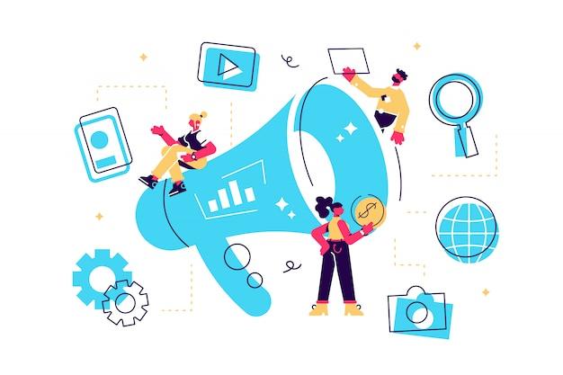 Marketing de saída do conceito. ilustração marketing offline ou de interrupção, marketing de permissão, marketing digital. Vetor Premium