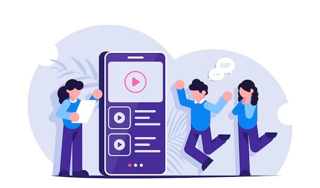 Marketing de vídeo. as pessoas veem conteúdo de vídeo ou anúncios na tela de um telefone celular Vetor Premium
