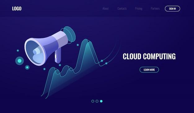 Marketing digital, aquisição de dados, publicidade online e promoção, alto-falante com gráfico Vetor grátis