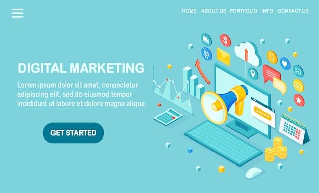 Marketing digital. computador isométrico, laptop, pc com dinheiro, gráfico, pasta, megafone, alto-falante, megafone. publicidade de estratégia de desenvolvimento de negócios. análise de mídia social Vetor Premium