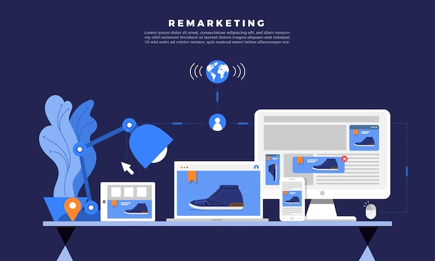 Marketing digital de remarketing Vetor Premium