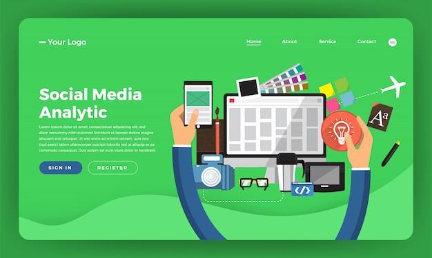 Marketing digital do conceito do site. desenvolvimento de web design. ilustração. Vetor Premium