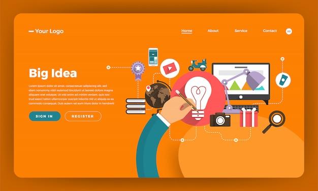Marketing digital do conceito do site. grande ideia. ilustração. Vetor Premium