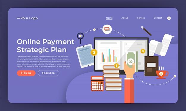 Marketing digital do conceito do site. plano de pagamento online. ilustração. Vetor Premium