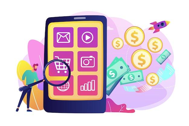 Marketing digital, e-commerce. comprador personagem plana compras online. monetização de aplicativos, anúncio de aplicativo móvel, conceito de promoção de download de aplicativo. Vetor grátis