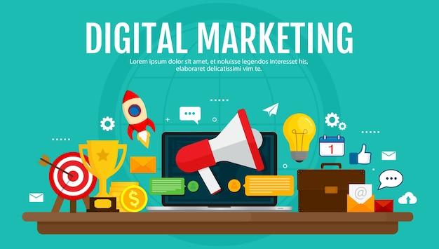 Marketing digital e conceito de publicidade digital. promoção de mídia, rede social, seo. design plano. Vetor Premium