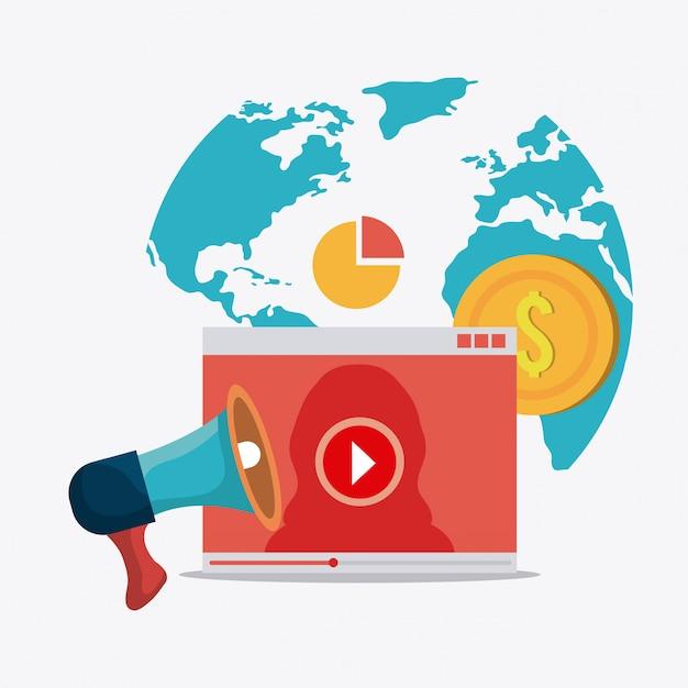 Marketing digital e social Vetor grátis