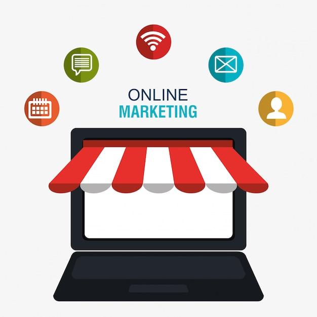 Marketing digital e vendas on-line, loja on-line no display pc Vetor grátis