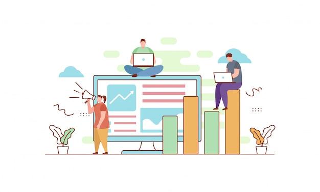 Marketing digital em estilo simples Vetor Premium