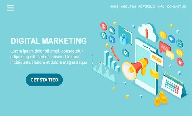 Marketing digital. telefone móvel isométrico, smartphone com dinheiro, gráfico, pasta, megafone, alto-falante, megafone. publicidade de estratégia de desenvolvimento de negócios. análise de mídia social Vetor Premium