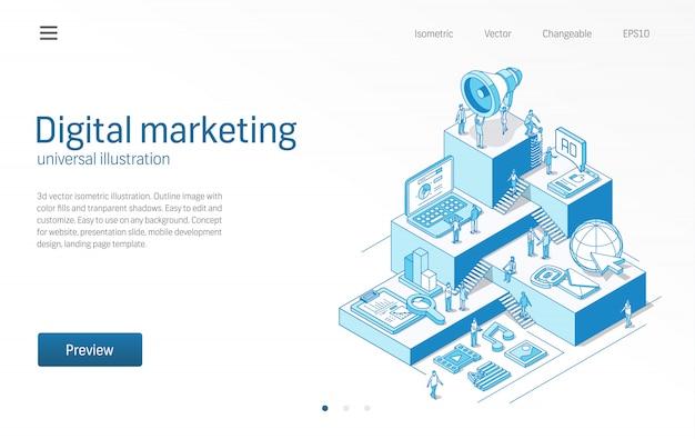Marketing digital. trabalho em equipe de pessoas de negócios. estratégia de publicidade móvel, ilustração de linha isométrica moderna seo. mídia social, conteúdo viral Vetor Premium