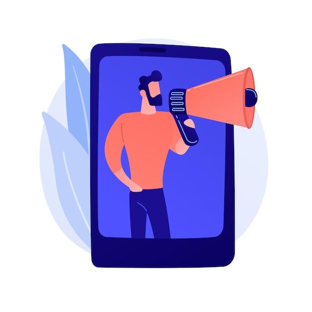 Marketing móvel, smm. anúncio de rede de mídia social. smartphone, app, notificação. profissional de marketing segurando uma ilustração de personagem plana em megafone Vetor grátis