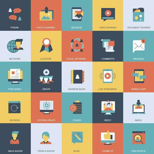 Marketing na internet e conjunto de ícones de redes sociais Vetor Premium