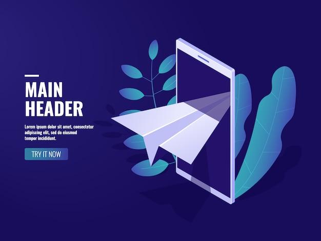 Marketing on-line, mensagem recebida, aeronave de papel, celular Vetor grátis