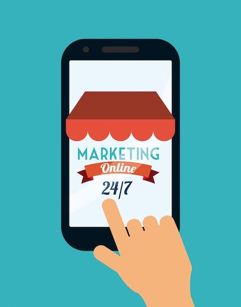 Marketing online Vetor Premium