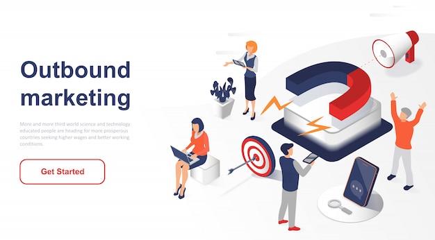 Marketing ou publicidade de saída isométrica da página de destino Vetor Premium