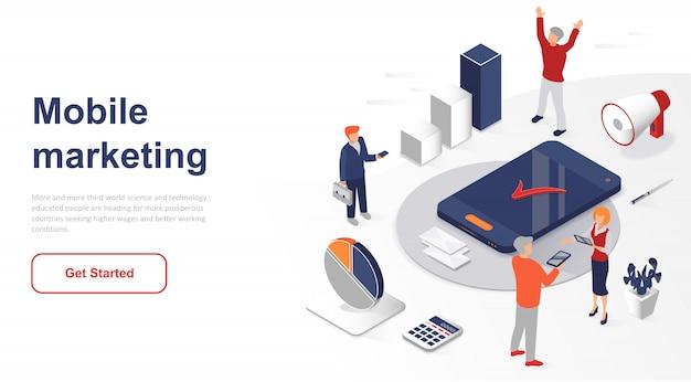 Marketing ou publicidade móvel isométrica da página de destino Vetor Premium
