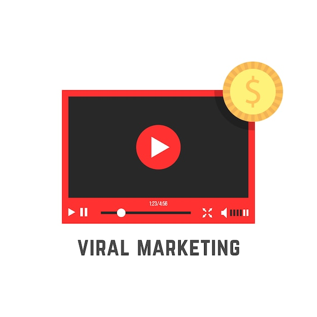Marketing viral com player de vídeo vermelho Vetor Premium