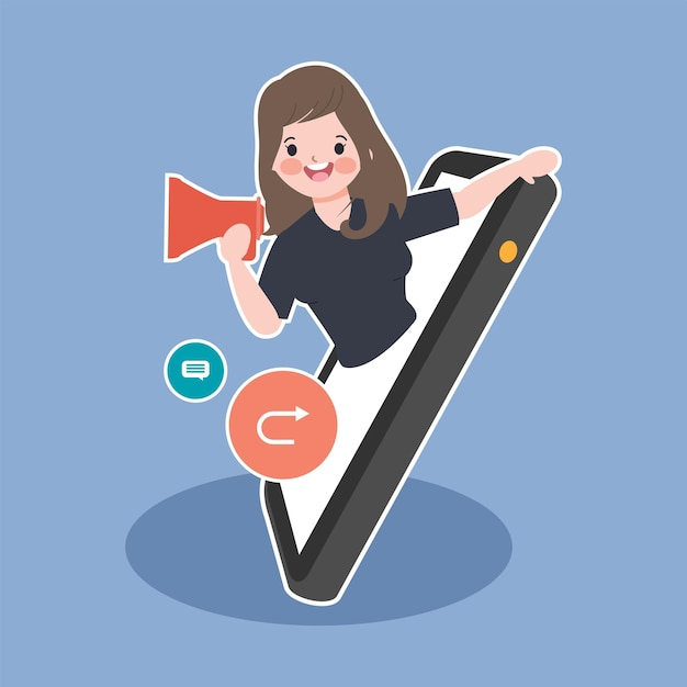 Marketing viral de mídia social e ilustração do conceito de compartilhamento de notícias em todo o mundo. Vetor grátis