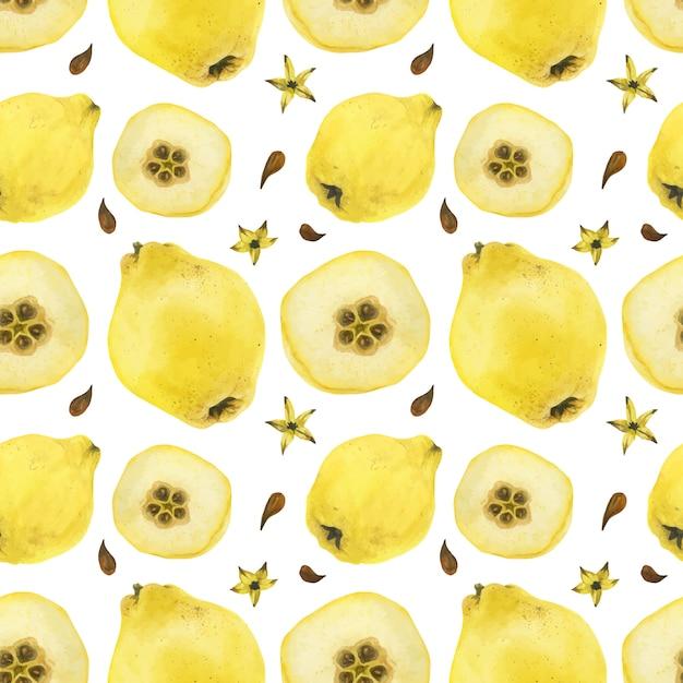 Marmelo amarelo frutas e meias frutas sem costura padrão Vetor Premium