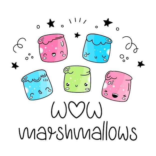 Marshmallow vetor definido no estilo de kawaii, desenhos animados, emoji. Vetor Premium
