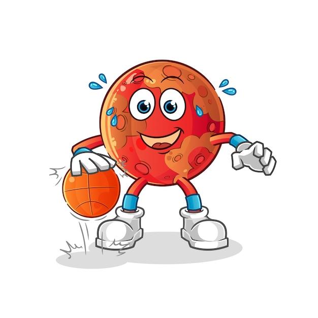 Marte dribla personagem de basquete. mascote dos desenhos animados Vetor Premium