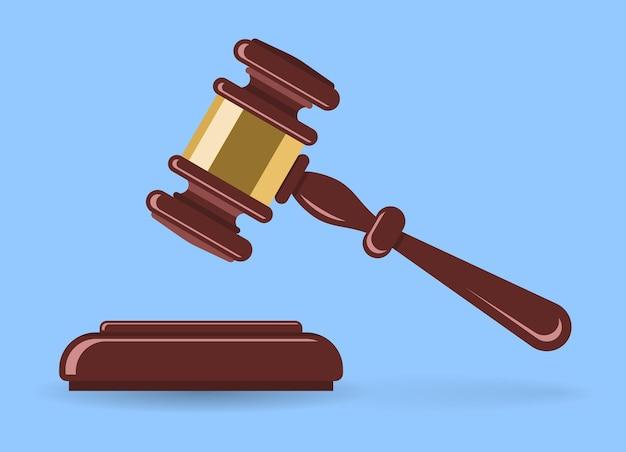 Martelo de madeira ou leiloeiro. leilão de conceito, justiça. Vetor Premium