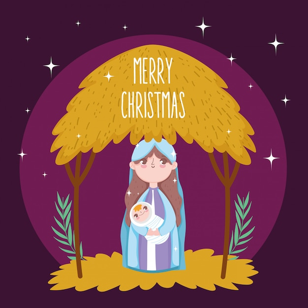 Mary baby jesus cabana manjedoura natividade, feliz natal Vetor Premium