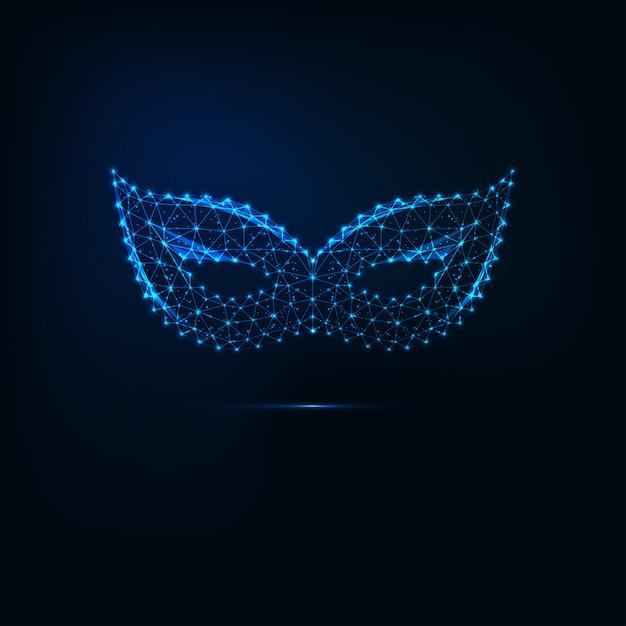 Máscara de baile de máscaras de carnaval de baixo poli brilhante Vetor Premium