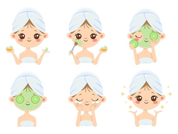 Máscara de beleza. cuidados com a pele mulher, limpeza e escovar o rosto. máscaras de tratamento de acne dos desenhos animados Vetor Premium