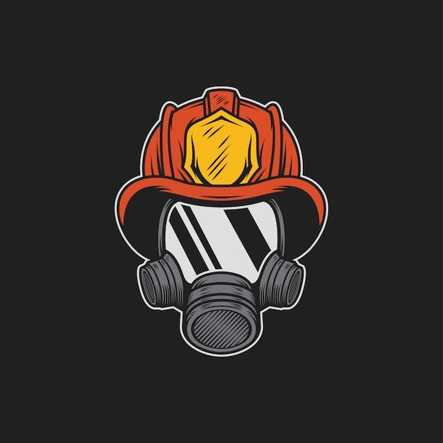 Máscara de bombeiro Vetor Premium