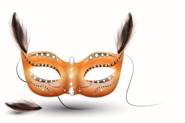 Máscara de carnaval dourado, baile de máscaras, carnaval. projeto de letras brilhantes de carnaval, cartaz de festa à noite, panfleto de festa de dança, banner de festa musical, convite de carnaval - vetor Vetor Premium