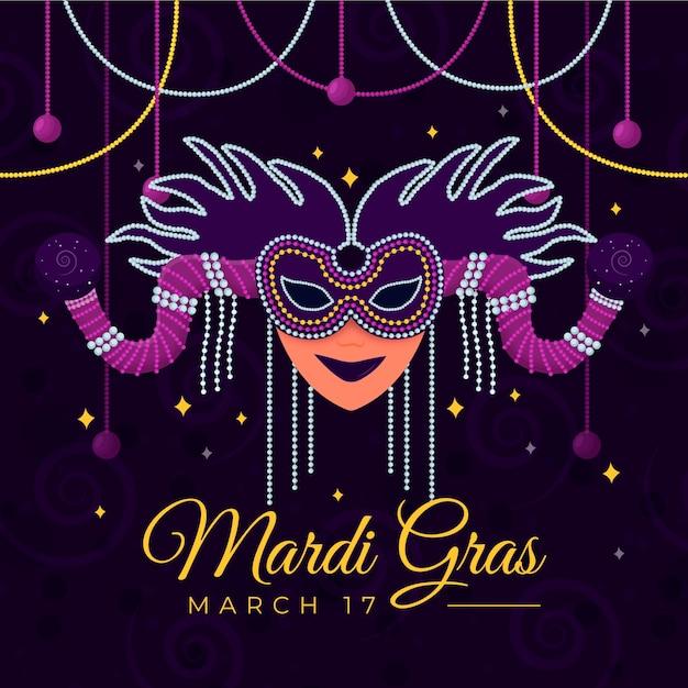 Máscara de carnaval em design plano Vetor grátis