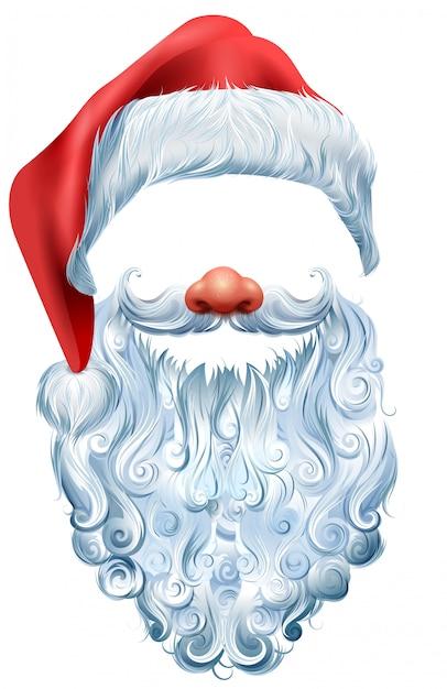 Máscara de chapéu, barba e nariz vermelho papai noel. acessório de natal Vetor Premium