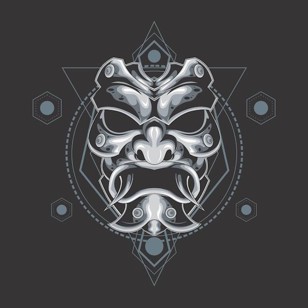 Máscara de demônio prata geometria sagrada Vetor Premium