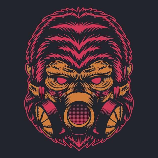 Máscara de gás gorila Vetor Premium