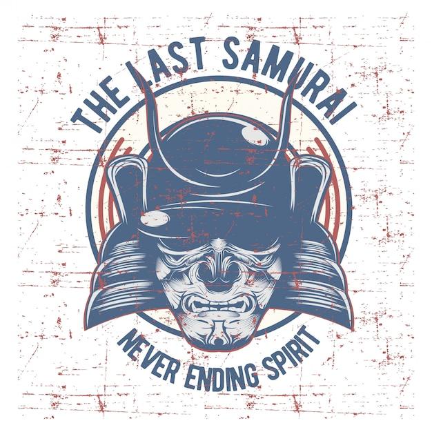 Máscara de guerreiro samurai. armadura tradicional do guerreiro japonês. Vetor Premium