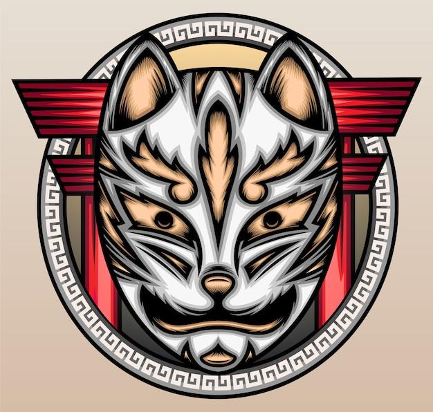 Máscara de raposa na frente do portão torii. Vetor Premium
