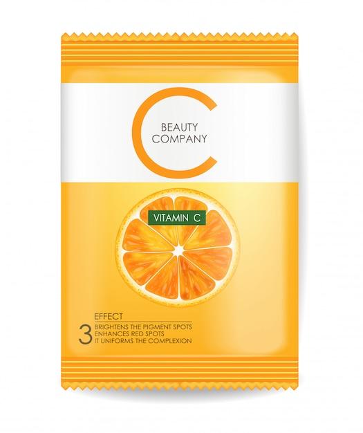 Máscara de vitamina c, pacote realista Vetor Premium